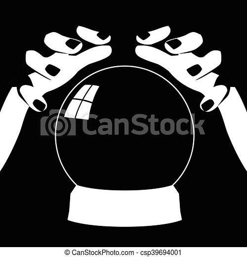 Fortune teller hands with crystal ball - csp39694001