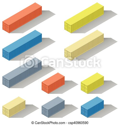Forty and twenty foot sea containers of different colors isometric icons set - csp40960590