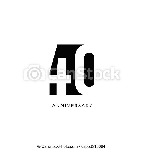 Forty Anniversary Minimalistic Logo Fortieth Years 40th Jubilee Greeting Card Birthday