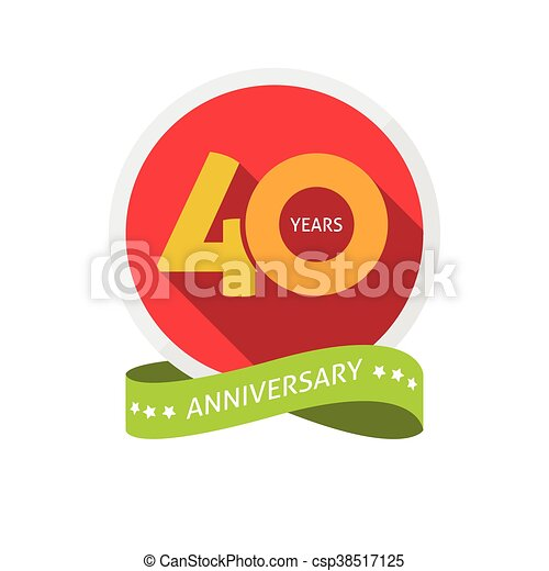forty years anniversary logo 40 year birthday sticker label 40th