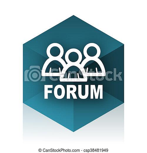 forum blue cube icon, modern design web element - csp38481949