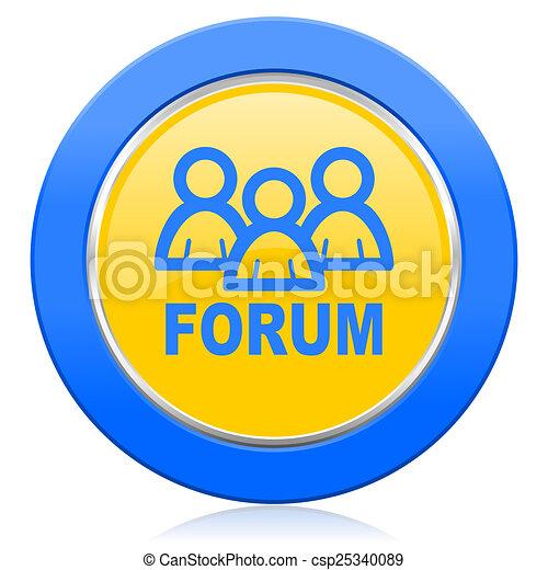 forum blue yellow icon - csp25340089