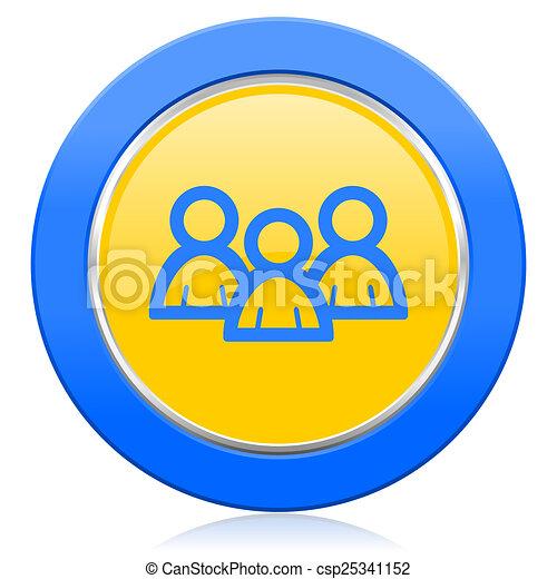 forum blue yellow icon - csp25341152