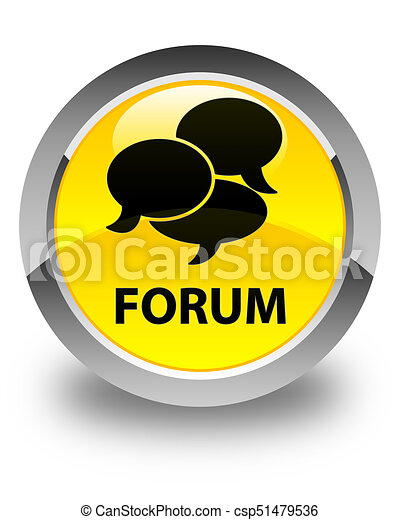 Forum (comments icon) glossy yellow round button - csp51479536