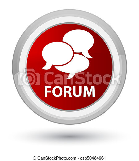 Forum (comments icon) prime red round button - csp50484961