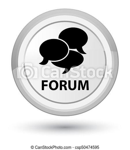 Forum (comments icon) prime white round button - csp50474595