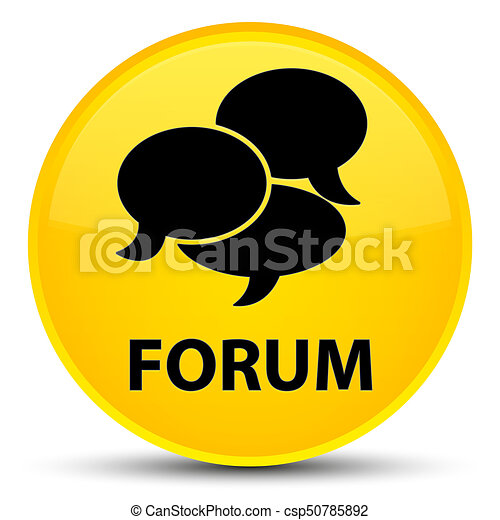 Forum (comments icon) special yellow round button - csp50785892