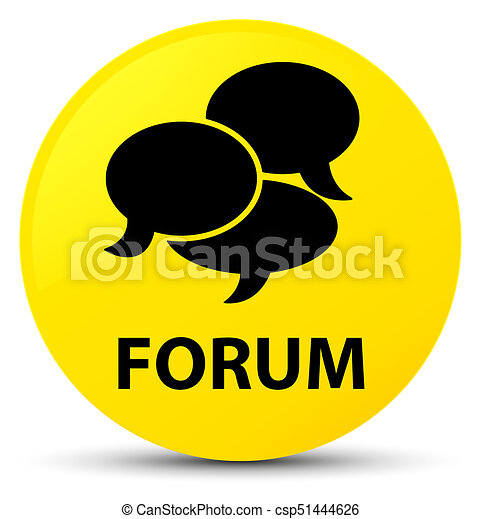 Forum (comments icon) yellow round button - csp51444626