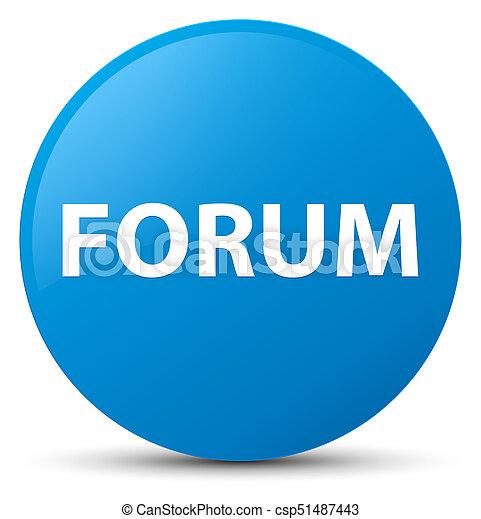 Forum cyan blue round button - csp51487443