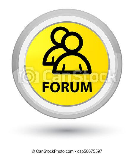 Forum (group icon) prime yellow round button - csp50675597