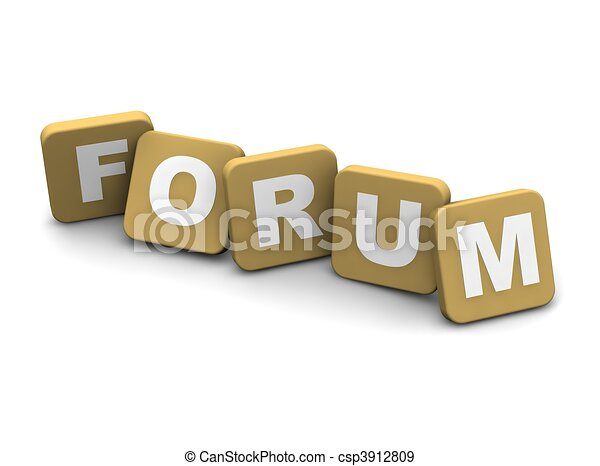 Forum text. 3d rendered illustration isolated on white. - csp3912809