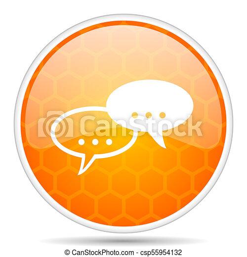 Forum web icon. Round orange glossy internet button for webdesign. - csp55954132