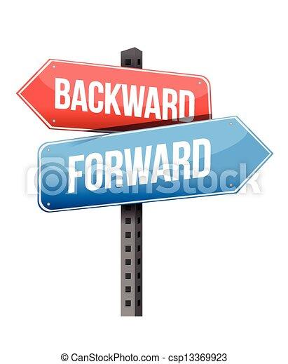 forward versus backward road sign - csp13369923