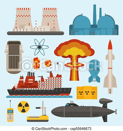 Fossil-fuel nuclear atomic power and renewable energy generating electricity nuclear energy vector illustration. Atomic technology industry electric nuclear energy turbine pollution industrial sign - csp55646673