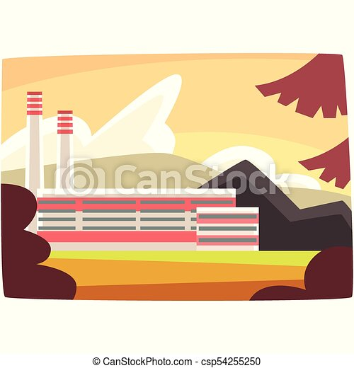 Fossil fuel plant, energy producing power station horizontal vector illustration - csp54255250