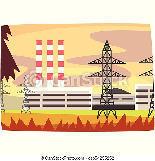 Fossil fuel power station, energy producing plant horizontal vector illustration - csp54255252