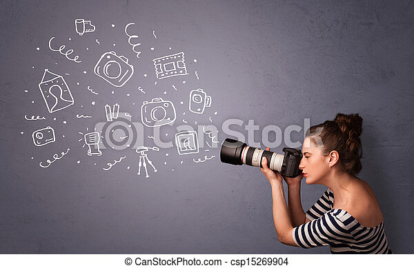fotógrafo, menina, tiroteio, fotografia, ícones - csp15269904