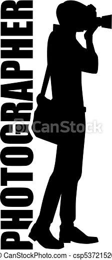 fotógrafo, trabalho, silueta, título - csp53721526