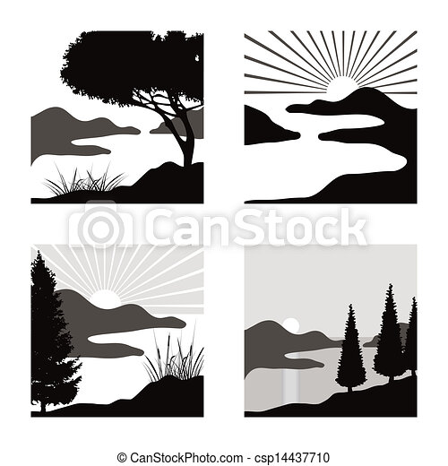 fot, stylisé, usage, pictograms, côtier, illustrations, paysage - csp14437710