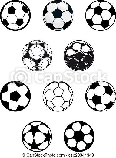 fotboll, sätta, eller, fotboll, klumpa ihop sig - csp20344343