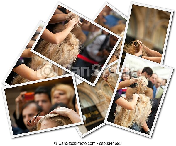 Estilista de pelo, collage fotográfico - csp8344695