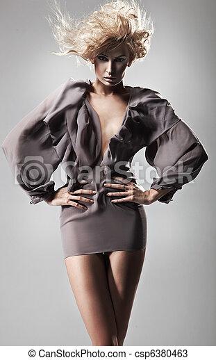 foto, estilo, dama, joven, moda - csp6380463