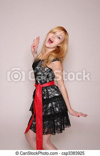 foto, estilo, moda, dama, joven - csp3383925