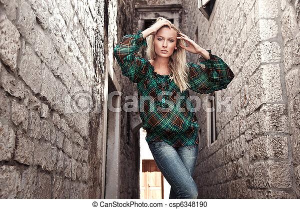 foto, estilo, moda, niña joven - csp6348190