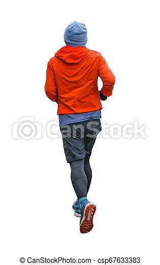 Back View Man läuft isoliertes Foto - csp67633383