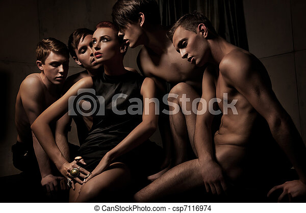 foto, gente, grupo, sexy - csp7116974