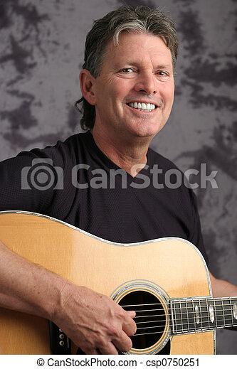 foto, guitarist, 4, middelbare leeftijd , mannelijke , liggen - csp0750251