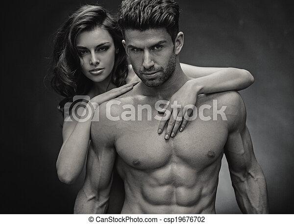 foto, pareja, black&white, sensual - csp19676702