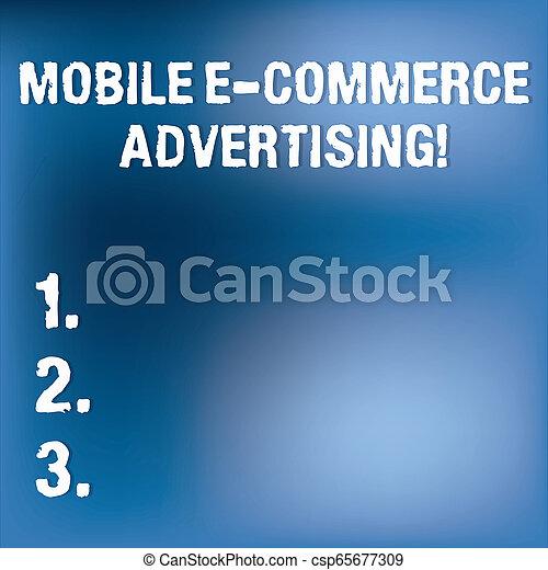 Señal de texto que muestra publicidad móvil de comercio E. Conceptual uso fotográfico de dispositivos móviles en mercadeo luz borrosa parpadeando en espacio nebuloso azul claro para el papel de póster. - csp65677309