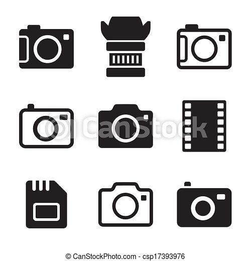 foto, set, macchina fotografica, accessori, icone - csp17393976