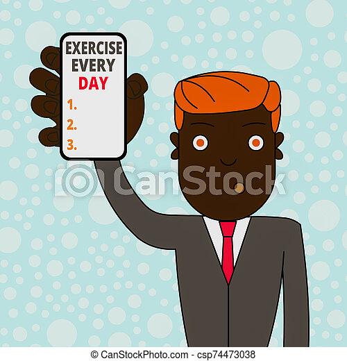 foto, showcasing, negócio, ajustar, cada, mostrando, passe escrito, dispositivo, homem, movimento, smartphone, vertical, attention., conceitual, exercício, ordem, saudável, energeticamente, corporal, adquira, segurando, day., tela - csp74473038