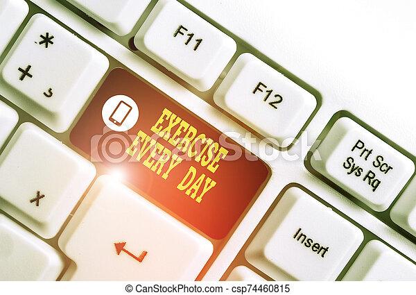 foto, showcasing, papel, negócio, ajustar, cada, mostrando, teclado, escrita, movimento, acima, nota, exercício, ordem, saudável, experiência., pc, energeticamente, corporal, adquira, day., branca - csp74460815