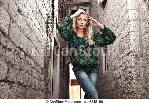 foto, stil, mode, ung flicka - csp6348190
