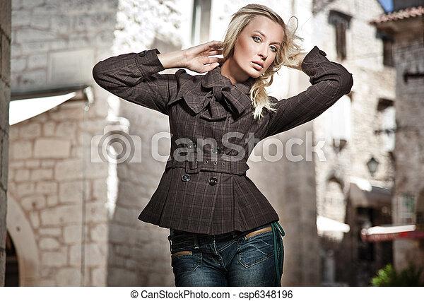 foto, stil, mode, ung flicka - csp6348196