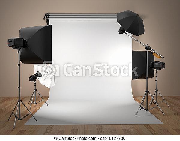 Equipo de estudio fotográfico. Espacio para el texto. - csp10127780