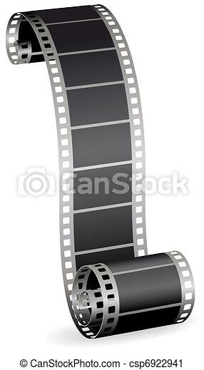 Rollo de película torcido para foto o video en la ilustración del vector blanco - csp6922941