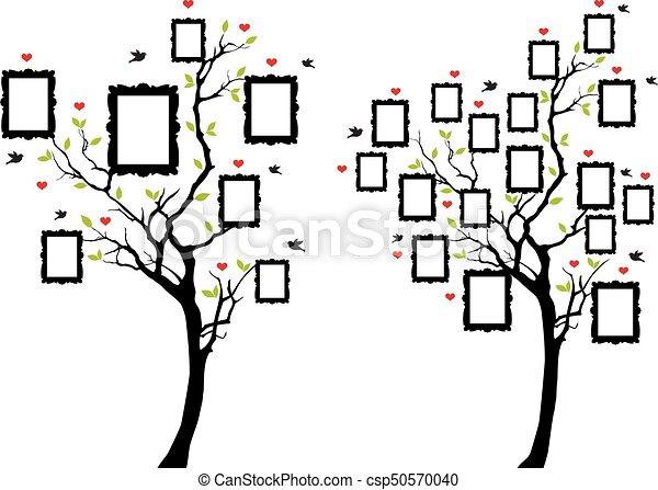 Foto, vector, árbol, familia , marcos. Imagen, árbol genealógico ...