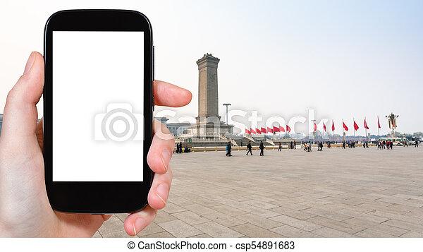 Fotografías turísticas Tiananmen Square en Beijing - csp54891683