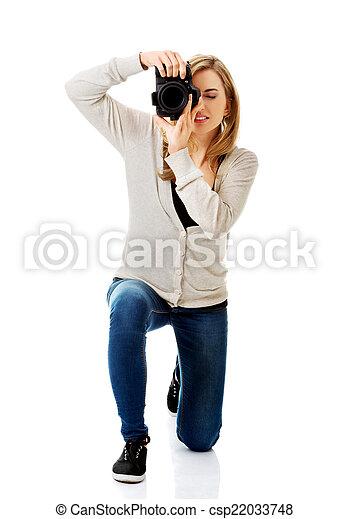 fotograf, frau, dslr - csp22033748