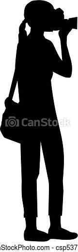 fotograf, silhouette, weibliche  - csp53721525
