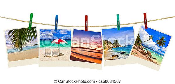 fotografi, strand semester, klädnypor - csp8034587