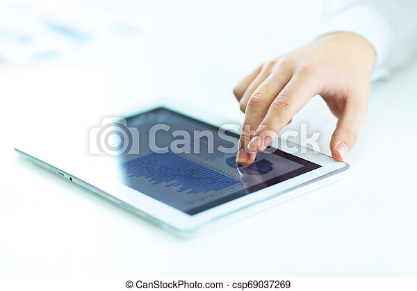 fotografia, przestrzeń, tablet., up.businessman, cyfrowy, zamknięcie, używając, kopia - csp69037269