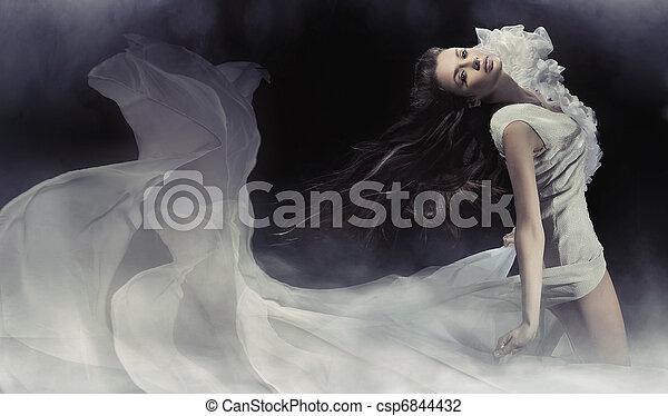 fotografia, zdumiewający, brunetka, dama, czuciowy - csp6844432