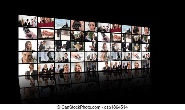 fotomontaggio, affari, persone lavorare - csp1864514