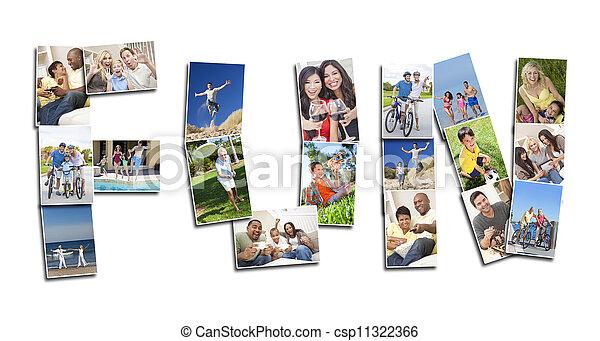 fotomontaggio, persone, detenere, attivo, divertimento - csp11322366