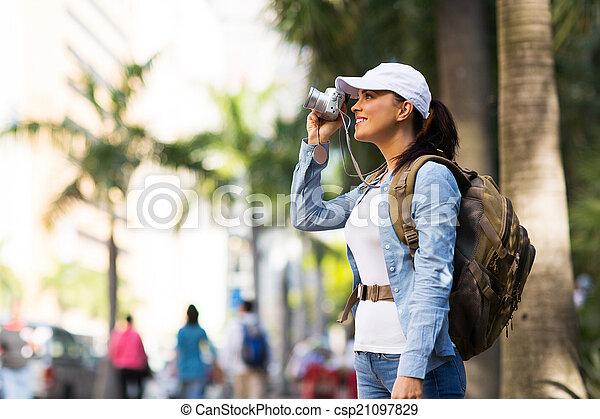fotos, toma, viajero, ciudad - csp21097829